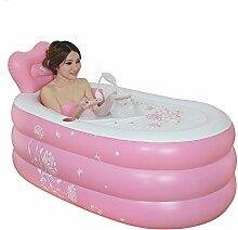 TlueTathtub Aufblasbare Pool Größe Falten Verdicken Nach Warm Halten Umweltfreundlich Pvc-Whirlpool Badewanne Barrel Badewanne 150 X 90 X 48 Cm, Pink