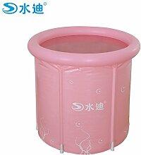 TlueTathtub Aufblasbare Pool Nach 2 Farbe Option Rahmen Rohr Pvc-Faltung Zwischennetz Portable Warm Halten Badewanne Barrel Wanne 70 X 70 Cm, Pink