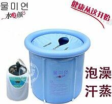 TlueTathtub Größe 70 * 70 Cm, Mit Pumpe, Wasser Schönheit Verdickung Haushalt Dampf, Aufblasbare Badewanne Sauna Dual