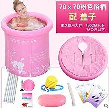 TlueTathtub Größe 70 X 70 Cm, Verdickung Falten Portable Whirlpool, Spa Pvc Wanne, Aufblasbare Badewanne Eimer Blau Und Pink, Pink