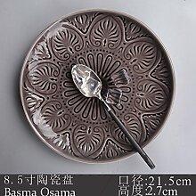 Tlue Tathtub Japanische Mode Persönlichkeit Keramisches Geschirr Teller Haushalt Teller Suppe Küche Flache Scheibe Heimtextilien Obstteller, Grau 8,5-Zoll Fehl