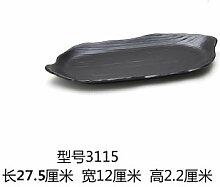 Tlue Tathtub Melamin Geschirr Schwarze Rechteckige Platte Japanisches Sushi Platte Gerichte Grill Rindfleisch Gerichte Hot Pot Schale, 3 000 100 Und 15