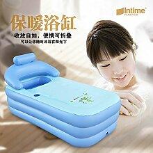 TlueTathtub Nach Spa Pvc-Faltung Tragbare Badewanne Aufblasbare Badewanne Mit Reißverschluss Abdeckung Getränkehalter, Blau