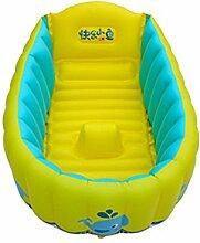 TlueTathtub Tragbare Aufblasbare Babywanne 0-3 Jahre Alten Kindern Badewanne Verdickung Falten Kinder Waschbecken Kinder Wanne Baby Pool, Gelb