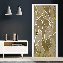 TMANQ 3D Tür Aufkleber Wandbild Goldener Faden