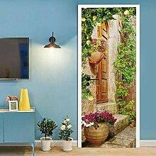 TMANQ 3D Tür Aufkleber Wandbild Hängender Korb