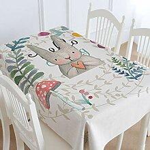 TMRTCGY Niedliche Kaninchen Cotton Tischdecke