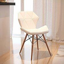 TMY Massivholz-Computer-Stuhl-Bürostuhl, der Stuhl, moderner Lederbank-Freizeit-Schemel speist ( Color : White , Größe : 37*71CM )