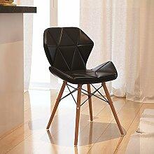TMY Massivholz-Computer-Stuhl-Bürostuhl, der Stuhl, moderner Lederbank-Freizeit-Schemel speist ( Color : Black , Größe : 37*71CM )