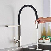 TNR® Wasserhahn gebürstet Nickel mit schwarzem