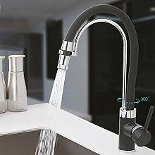 TNR® Wasserhahn schwarz mit Chrom Küchenarmatur