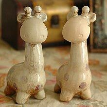 Toaryong 1 Paare Von Giraffe Keramik Porzellan Heimtextilien Geschenk Tier Wohnzimmer Dekoration, Giraffe Paare 1 Paare