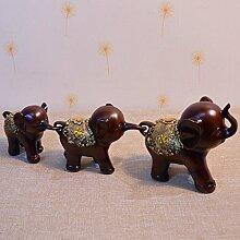 Toaryong Das Wohnzimmer Tv-Schrank Dekor Drei Ornamente Wie Hochzeit Geschenk Drei Baby Elefant, Drei Farben Aus Holz