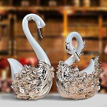Toaryong Dekorative Möbel Heimtextilien Praktische Fertigkeiten High-End-Swan Ornamente, Einen Großen Luxus Champagner