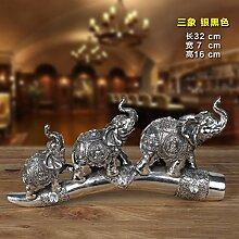 Toaryong Der Elefant Home Ausstattung Wohnzimmer Büro Eingang Wein Dekoration Dekoration Dekoration Basteln, Hf005-B Schwarz Silber Drei Elefanten