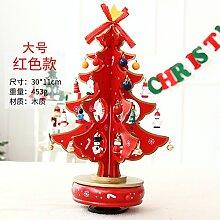 Toaryong Der Weihnachtsbaum Holz Drehen Music Box Desktop Dekoration, 30Cm Music Box Größe Rot (453 G)