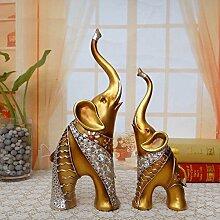 Toaryong Ein Paar Elefanten Harz Handwerk Geschenk Dekoration Feng Shui Lucky Jinxiang Büro Dekoration Dekoration Dekoration Wohnungseinrichtung Wohnzimmer, Ein Paar Gold
