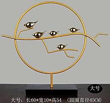 Toaryong Einfache, Moderne Dekoration Dekoration Dekoration Aus Metall Iron Bird Kreis Heimtextilien Harz Handwerk, Goldene Vogel (Tuba)