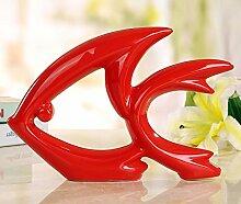 Toaryong Einfache Und Moderne Einrichtung Dekoration Wohnungseinrichtung Wohnzimmer Tv Cabinet Cabinet Dekoration Abstrakt Tier Handwerk Keramik, Rot Fliegende Fische
