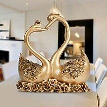 Toaryong Europäische Harz Home Ausstattung Wohnzimmer Tv-Schrank Dekoration Neue Hochzeit Geschenk Kreative Hochzeit Paar Swan, Antik Gold Siam Schwäne Paar
