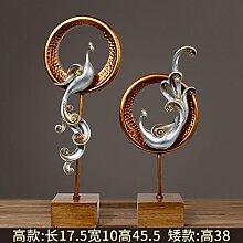Toaryong Europäische Heimtextilien Schmuck Zhaocai Phoenix Dekoration Wohnzimmer Tv-Schrank Innen Dekoration Dekoration Basteln, Alte Silber Paar