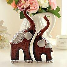 Toaryong Europäische Kreative Moderne Minimalist-Hauptdekor Heimtextilien Elefant Wohnzimmer Tv-Schrank Veranda Dekoration Dekoration, Mutter Elefant - Imitierte Holzmaserung