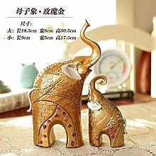 Toaryong Europäische Kreative Moderne Minimalist-Hauptdekor Heimtextilien Elefant Wohnzimmer Tv-Schrank Veranda Dekoration Dekoration, Mutter Und Kind Elefant - Rose Gold