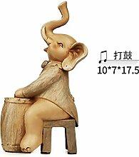 Toaryong Europäische Moderne Elefant Heimtextilien Schmuck Basteln Dekoration Neues Wohnzimmer Schrank Schöne Musik Elefant Ornamente, Gerade Schlug Die Trommel (Xl -4822) Simulation Farbe