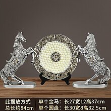 Toaryong Europäische Pferd Dekoration Handwerk Tv Cabinet Cabinet Einrichtung Büro Zhaocai Heimtextilien Studie Das Wohnzimmer Dekoration, Silberne Scheibe Drei Stück Pferd Gitter