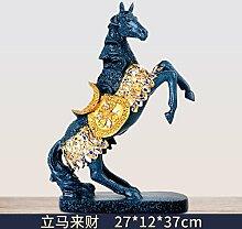 Toaryong Europäische Pferd Dekoration Handwerk Tv Cabinet Cabinet Einrichtung Büro Zhaocai Heimtextilien Studie Das Wohnzimmer Dekoration, Ice Blue Sofort Zu Eigentum