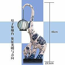 Toaryong Giraffe Elefant Kerze Leuchter Moderne Dekoration, Mutter Und Kind Elefant Kerzenständer (Beige)