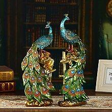 Toaryong Harz Handwerk Schmuck Schmuck Kreative Wohnungseinrichtung Peacock Wohnzimmer Tv-Schrank Dekoration Hochzeit Geschenk, Ein Paar Pfauen
