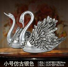 Toaryong Heimtextilien Dekoration Dekoration Dekoration Wohnzimmer Tv Cabinet Cabinet Swan, Ein Paar High-Grade Antik Silber