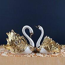 Toaryong Heimtextilien Dekoration Dekoration Dekoration Wohnzimmer Tv Cabinet Cabinet Swan, Champagne Gold Paar