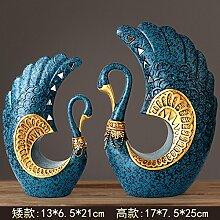 Toaryong Heimtextilien Dekoration Dekoration Dekoration Wohnzimmer Tv Cabinet Cabinet Swan, Blau Gold (012, Für Ein Glückliches Paar)