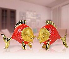 Toaryong Heimtextilien Schmuck Schmuck Einfache Hochzeit Zimmer Dekor Fashion Hochzeit Geschenk Liebhaber Küssenden Fisch Ornamente, Rot, Vergolde