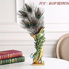 Toaryong Im Europäischen Stil Wohnzimmer Dekoration Wie Wein Portal Startseite Möbel Moderne Kreative Tv-Schrank Handwerk Hochzeit Geschenk, Peacock Vase (5 Federn)
