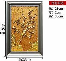 Toaryong Kreative Europäische Leben Hintergrund Wand Wandbild Dekoration Schmuck Three-Dimensional Veranda Heimtextilien Wand Silber Seite Goldene Blume (Pflaume)