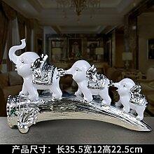 Toaryong Moderne Europäische Elefant Ornamente Heimtextilien Schmuck Kreative Hochzeit Wohnzimmer Schrank Zhaocai Dekoration Basteln Geschenke, (Versilbert) Elfenbein Vereinigt Drei Elefanten