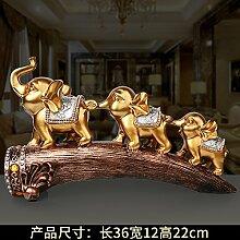Toaryong Moderne Europäische Elefant Ornamente Heimtextilien Schmuck Kreative Hochzeit Wohnzimmer Schrank Zhaocai Dekoration Basteln Geschenke, (Autique Gold) Drei Siam Elephant Ivory