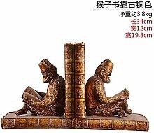 Toaryong Retro Monkey Ornamente Buch Buch Office Studie Heimtextilien Schmuck Bücherstütze Bücherstützen, Das Gebrauchsmuster Bronze Monkey