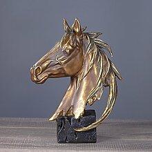 Toaryong Retro Pferd Schmuck Schmuck Einfache Einrichtung Heimtextilien Studie, Golden Horse Head
