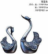 Toaryong Swan Ornamente Hochzeit Geschenk Heimtextilien Schmuck Tv-Schrank Im Wohnzimmer Schrank Schrank Dekoration Basteln, 064 Silber Blau Ein Paar