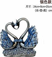 Toaryong Swan Ornamente Hochzeit Geschenk Heimtextilien Schmuck Tv-Schrank Im Wohnzimmer Schrank Schrank Dekoration Basteln, 057 Silber Blau
