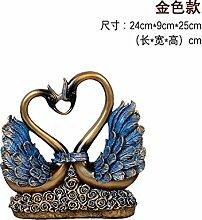 Toaryong Swan Ornamente Hochzeit Geschenk Heimtextilien Schmuck Tv-Schrank Im Wohnzimmer Schrank Schrank Dekoration Basteln, 057 Retro Blau