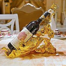 Toaryong Wine Rack, Wine Rack Rack Wein Kreative Verzierungen Heimtextilien Europäischen Tabelle Wine Rack Cabinet Cabinet Einrichtung Geschenke, Goldene