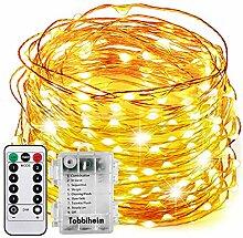 Tobbiheim Batterie Lichterkette Außen 100 LEDs 12