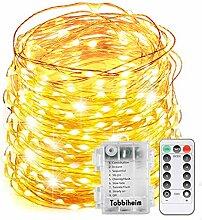 Tobbiheim Batterie Lichterkette Außen 200 LEDs 22