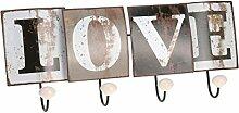 ToCi Retro Garderobenleiste Wandgarderobe Garderobe Flurgarderobe 46 cm 4 Haken, Modell:Love