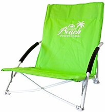ToCi Strandstuhl klappbar leicht kleines packmaß mit Transporttasche in 4 Farben, Farbe:Grün